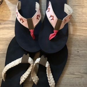 2 pairs j crew flip flops size 9 barely worn